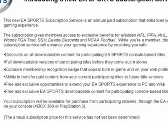 Rumor: EA Sports to introduce paid subscription service - 2011-04-25 16:26:49
