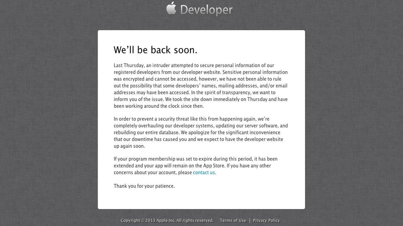 Apple Developer Site Taken Down After Hacking Threat