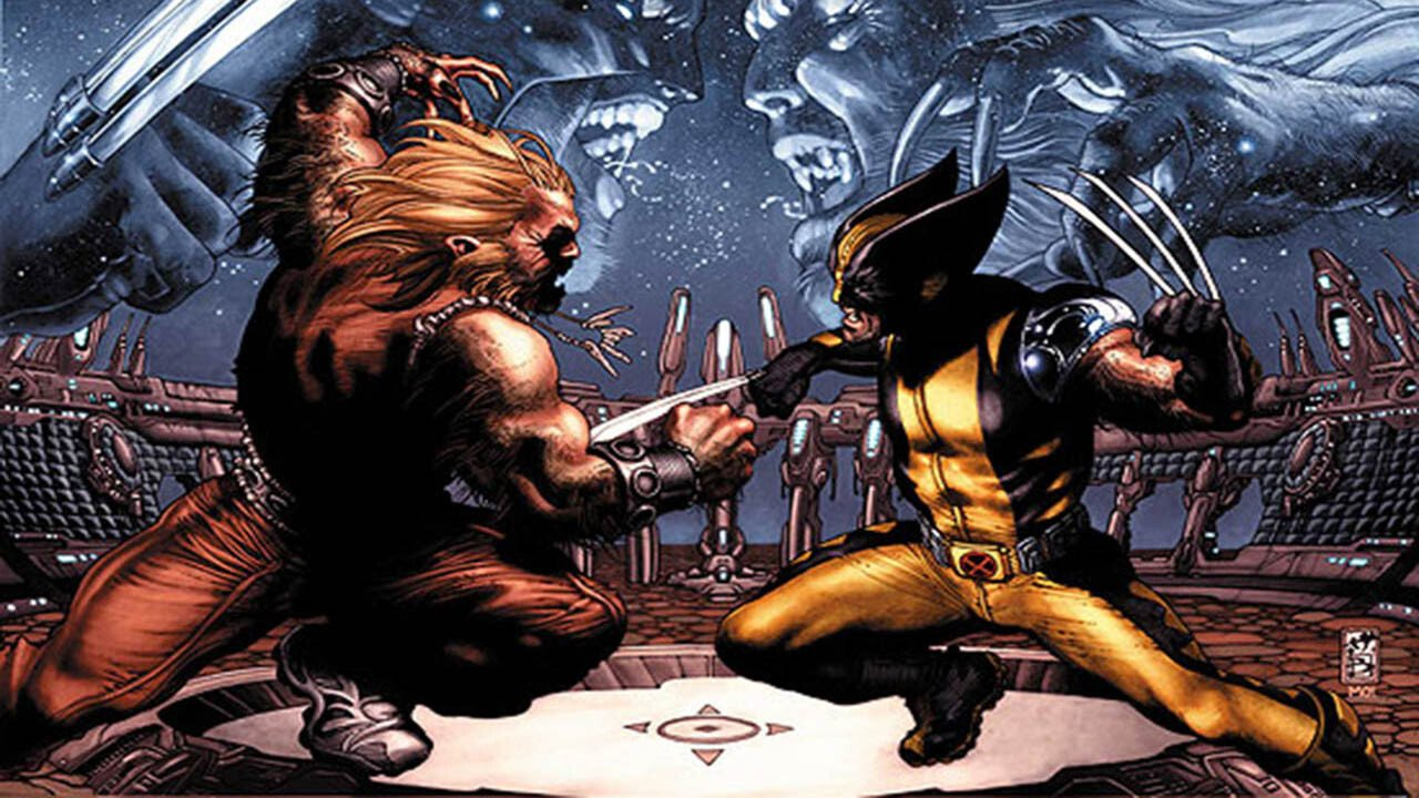 Wolverine and Sabretooth at each other's throats in Marvel Knights Animation