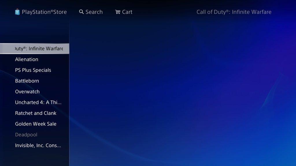 PlayStation Store Leaks Call of Duty: Infinite Warfare