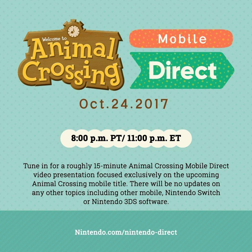 Animal Crossing Mobile Nintendo Direct Hitting October 24 2017