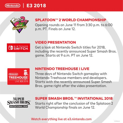 Nintendo Leads The Charge With Super Smash Brothers For E3 2018