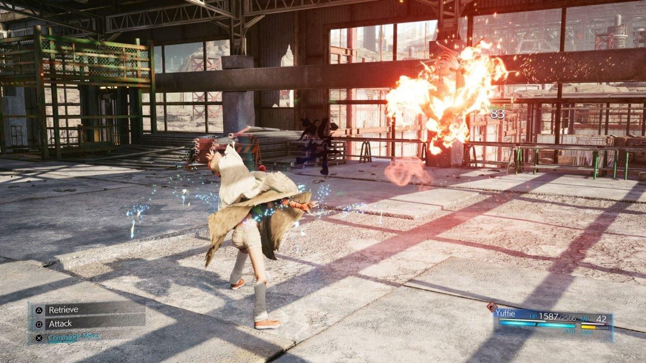 Yuffie Swaps Between Close- And Long-Range Attacks With Her Oversized Shuriken And Elemental Ninjutsu.