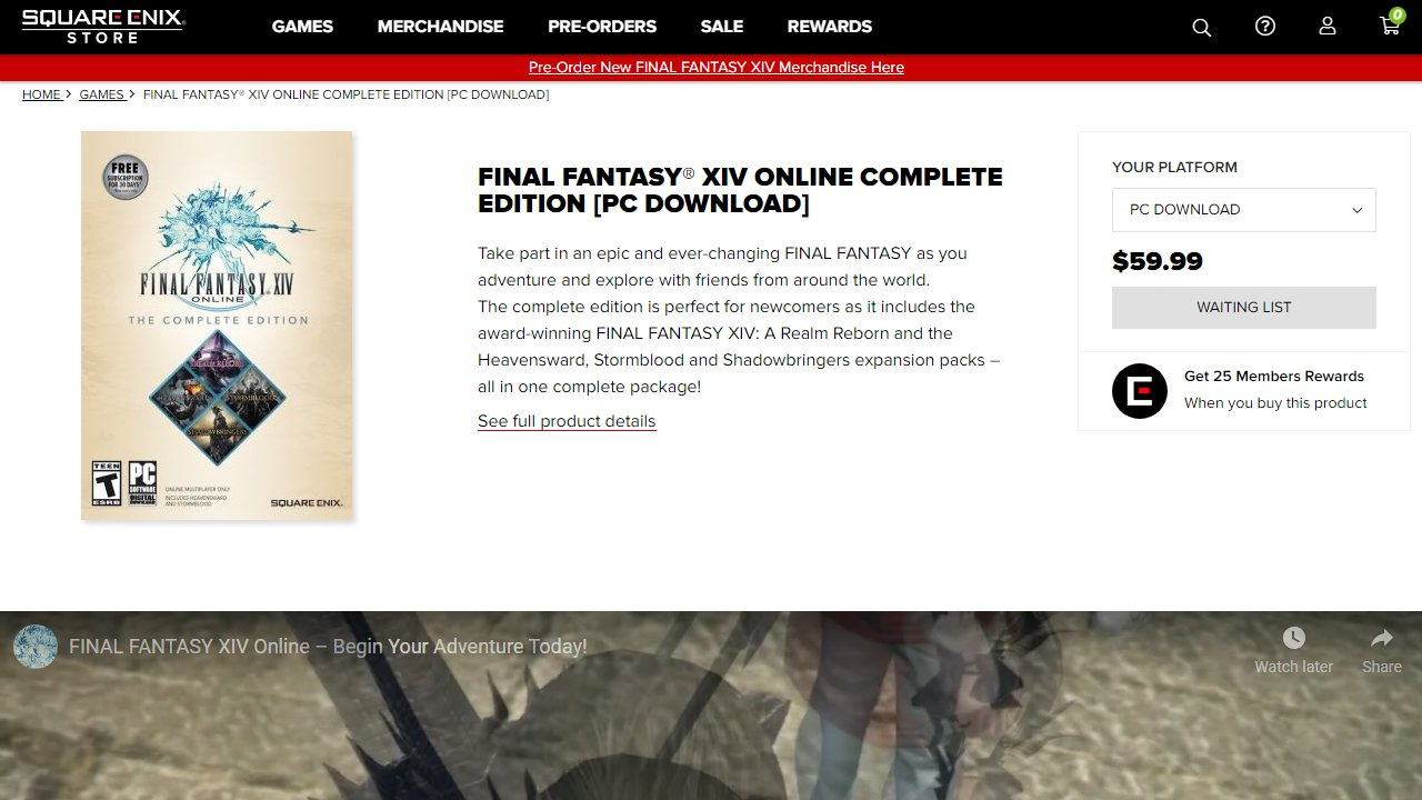 Square Enix'S Online Store Is Currently Sold Out Of Final Fantasy Xiv, Amid A Spike In Demand For The Mmorpg.