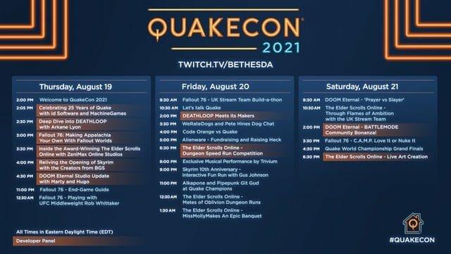 Bethesda Details Quakecon 2021'S Full Schedule