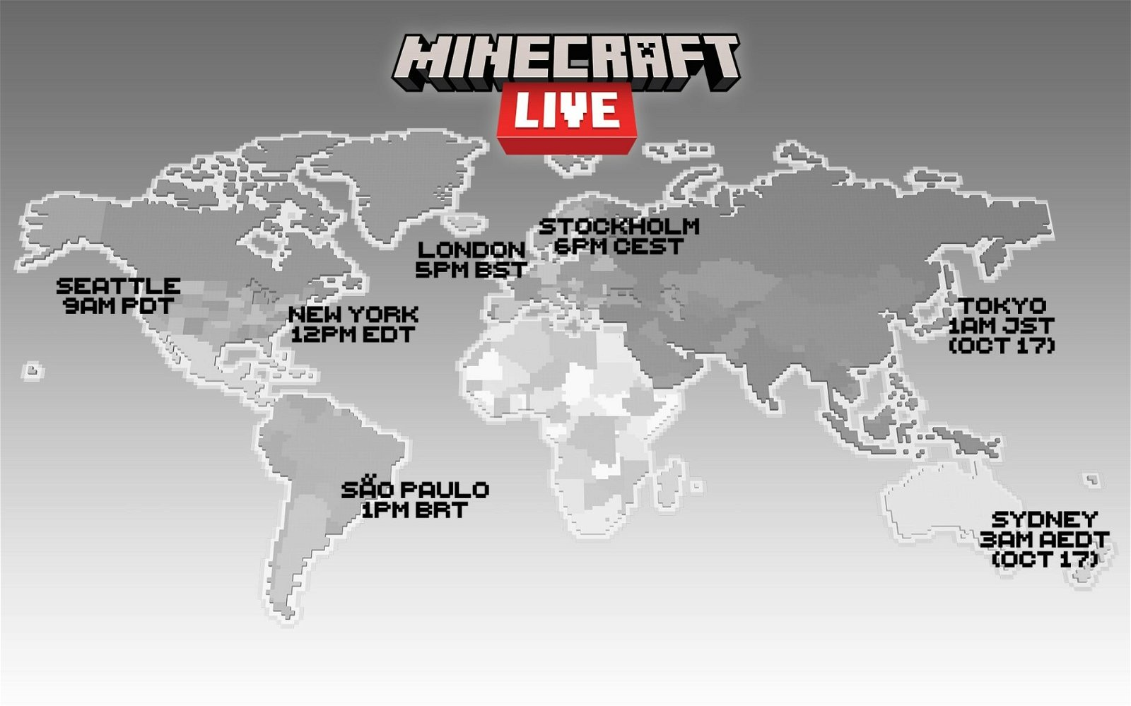 Map Of The World Showing Minecraft Live Broadcast Times For Major Cities